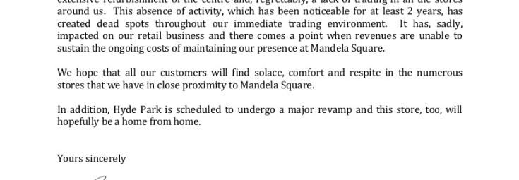 Letter re closing Mandela Square_23062015