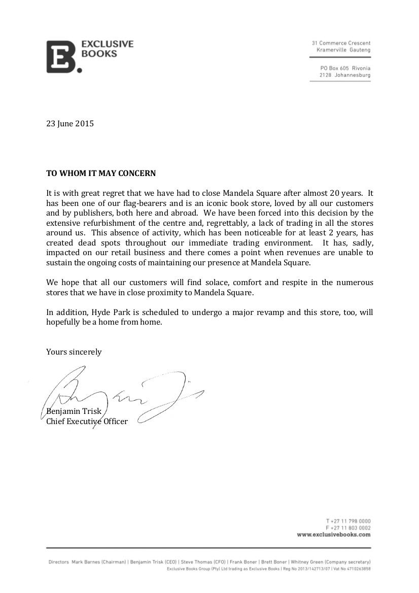 store closing letter to customers Nelson Mandela Square Store Closure | Exclusive Books Blog